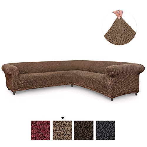 (Sectional Sofa Cover - Corner Couch Cover - Corner Slipcover - Cotton Fabric Slipcovers - 1-piece Form Fit Stretch Furniture Slipcover - Mille Righe Collection - Camel (Corner Sofa))