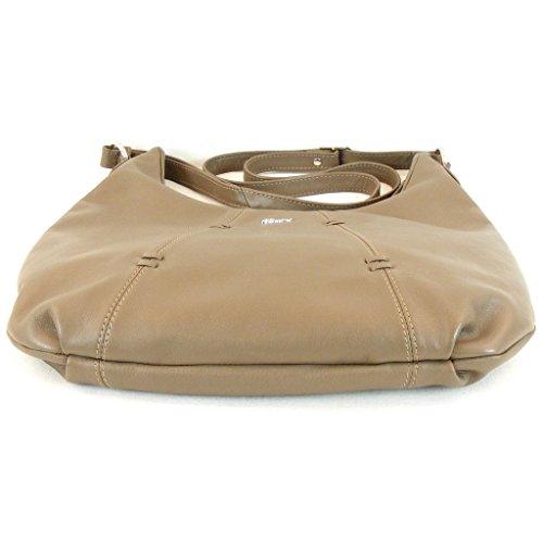 Pavini Damen Tasche Crossovertasche Berlin Leder taupe 12684 Reißverschluss