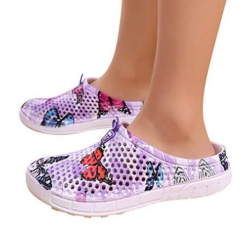 ceae5eb46c7e Chancletas Verano zapatillas Niña sandalias Púrpura Mujer Primavera ...
