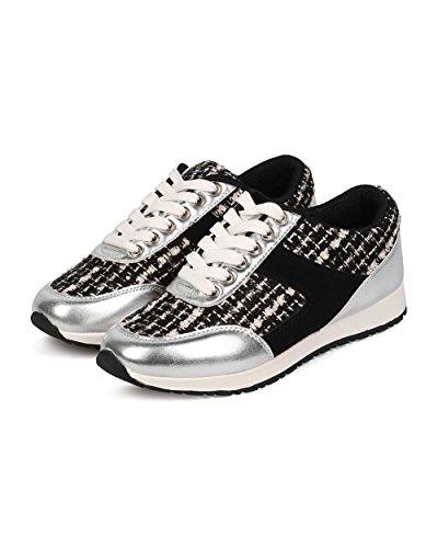Vilda Diva Ef89 Kvinnor Tweed Mediemixen Snörning Mode Sneaker - Svart