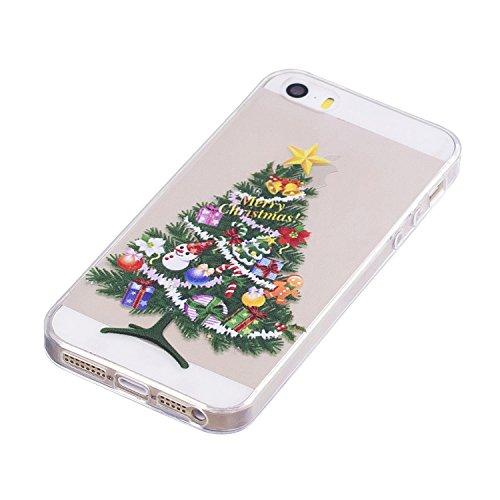 iPhone 5 5S SE Custodia , Moda Albero Di Natale Silicone leggero Morbido TPU Sollievo Sottile Protezione Antiurto Copertura Antiscivolo Resistente Coperture Cover Case Custodia per Apple iPhone 5 5S S