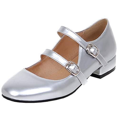 Agodor Women's Flat Ankle Strap Mary Janes Work Shoes Patent Leather Casual Ballet Flats Shoes (US 9, Silver 1)