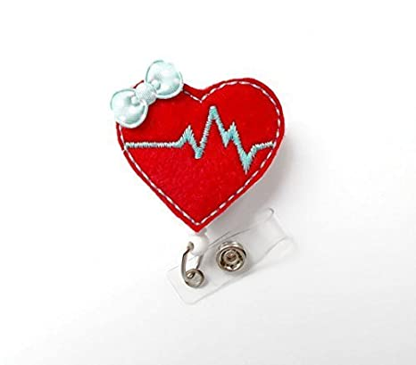 Amazon.com: Corazón rojo y Aqua – Retráctil Badge Reel ...