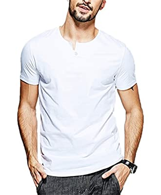 Aiyino Mens Summer Casual Slim Fit Single Button Short Sleeve Placket Plain Henley Top T Shirts
