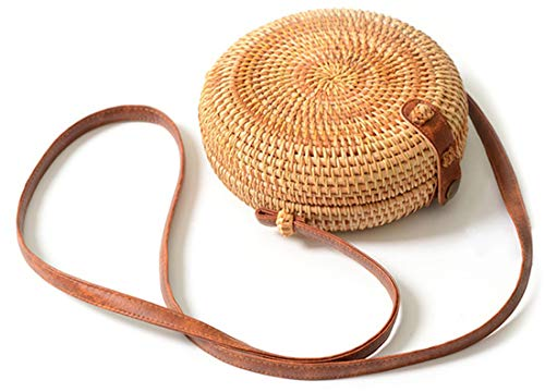 Handwoven Round Rattan Bag Shoulder Leather Straps Natural Chic Hand Gyryp (Leather buttons(small mini))