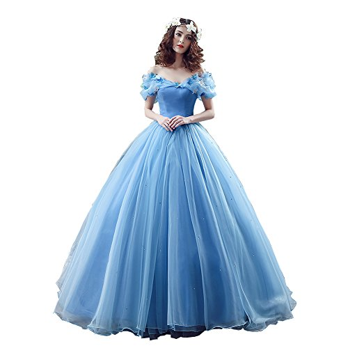 Elley Women's Cinderella Princess Organza Prom Long Floor Length 2016 Ball Gown Quinceanera Dress Royal Blue US8