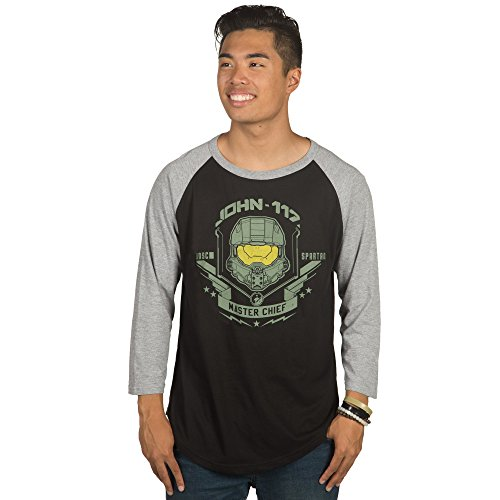 JINX Halo Men's Master Chief: 26th Century Legend Raglan Cotton/Poly Shirt (Black/Athletic Heather, XX-Large)