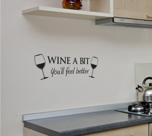 WINE A BIT KITCHEN Vinyl Wall Quote Sticker BY Cols Decals UK & Kitchen Wall Art: Amazon.co.uk