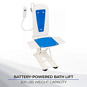 Image of Health and Household Bathmaster Deltis Bath Lift, Motorized Bath and Shower Seat with Comfortable Blue Cover, Backrest, Transfer Flaps, Waterproof Hand Controller, and Rechargeable Batteries, 309 lbs Weight Capacity