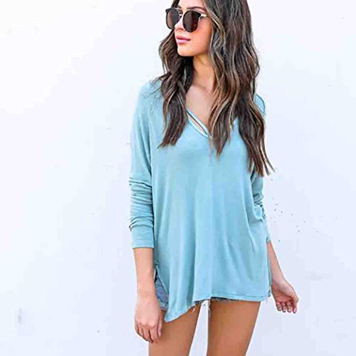 Women Blouse ,IEason Women Girl Hoodie Overlapping Sweatshirt Long Sleeve Crop Jumper Pullover Tops (L, Blue)