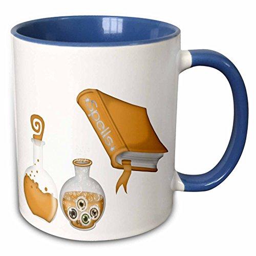 3dRose Anne Marie Baugh - Halloween - Halloween Spells Book and Bottles In Orange Illustration - 15oz Two-Tone Blue Mug (mug_216977_11) ()