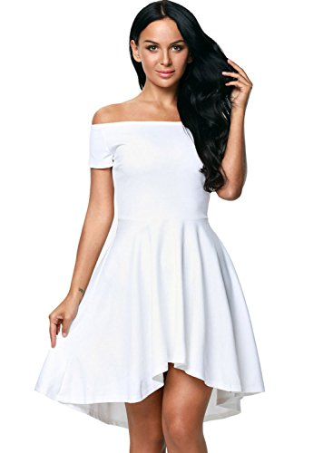 FairyMei Women Off Shoulder Short Sleeve High Low Skater Cocktail Dress (Small, White) (Cute Girl In White Dress)