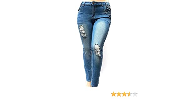 1826 Jeans KY Womens Plus Size Blue Denim Jeans Stretch Skinny Ripped  Distressed Pants 66cb25403