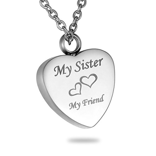 HooAMI Cremation Jewelry My Friend Heart Urn Necklace Keepsake Memorial Pendant (My Sister)