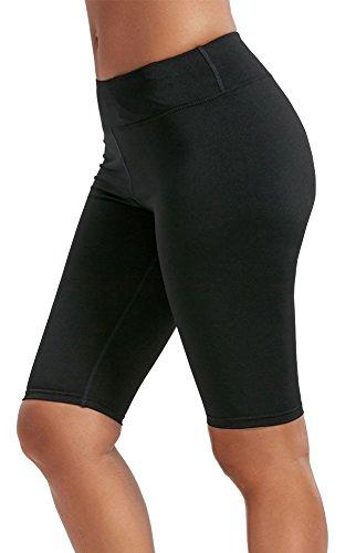 Women Knee Length Leggings Stretch Bike Shorts Hidden Pocket Black S