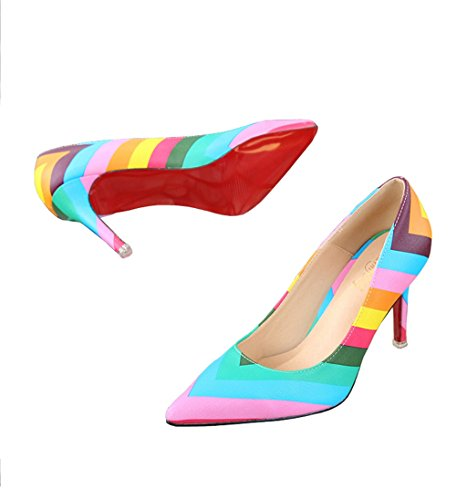 Doris Fashion Ts889-94 Womens Zebrato Rainbow Pumps Scarpe Con I Tacchi A Spillo Multicolore