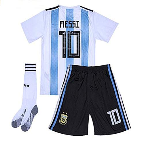 (Goldenhetai 2018 World Cup Soccer Team Argentina Messi 10 Kids/Youth Home Jersey Color White/Blue Size 10-11Years)