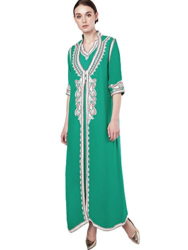 caftano abaya rayon abiti ricamo islamici lungo donne 1 dubai abito con Verde musulmano jalabiyas per Cdx4q7qw