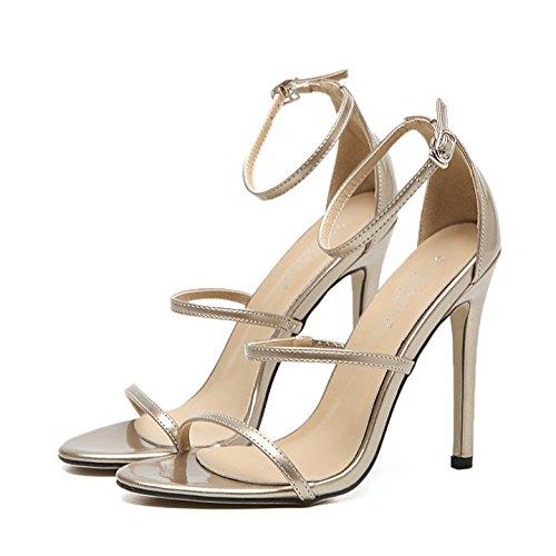 Xing Lin Summer Shoes For Women Wedges Summer New Three-Word Hollow Open Toe Stiletto Dress With Wild Roman Sandals Golden light gold fRRQ7CSF
