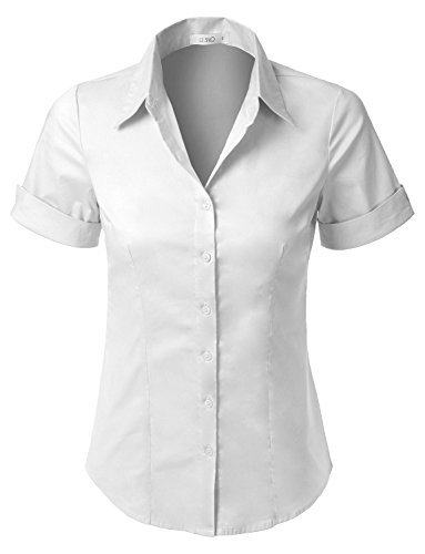 LE3NO Womens Short Sleeve Button Down Shirt with Stretch,L3nwt575a_white,XX-Large