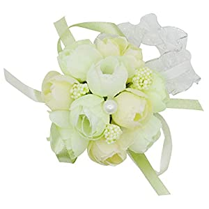Lovful Pack of 2 Bridesmaid Wedding Wrist Corsage Party Prom Hand Flower Wristband Corsage for Prom, Party, Wedding,Champagne 84