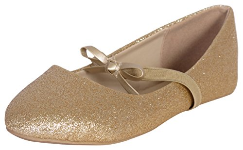 Price comparison product image 'Eddie Marc Girls Glitter Ballet Flats, Gold, Size 3'