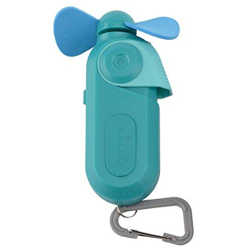 (O2COOL Sport Carabiner Misting Fan, Blue, Small Misting Fan, Portable Fan, Attachable Misting Fan, Battery Powered Small Personal Fan, Colored Fan, Water Fan, Pocket-Sized Fan with Carabiner, Teal)
