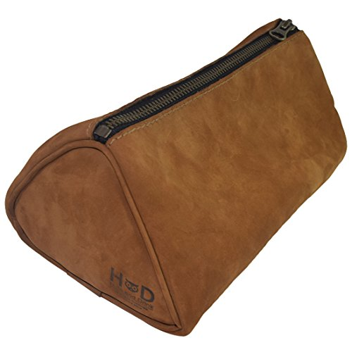 - Hide & Drink Soft Leather Travel Dopp Kit For Toiletries Handmade Toffee Suede