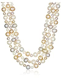 Sterling Silver High-Luster Twisted Three-Row Cultured Freshwater Pearl Strand (4-8mm) , 18""