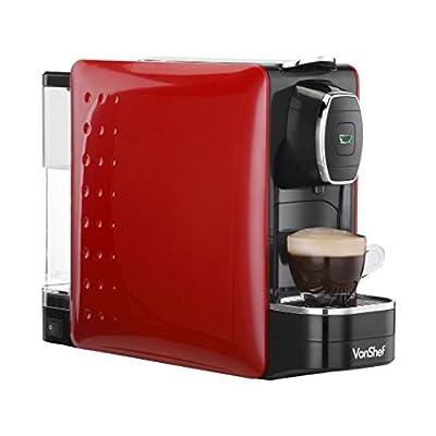 VonShef Coffee Pod Machine - For Nespresso Compatible Capsules - 1250W - in Stylish Red