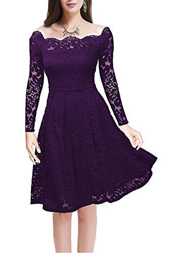 MisShow Womens Vintage Floral Lace Cocktail Formal Evening Party Swing Dress Purple XL