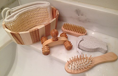 Bath & Body Gift Set with 5 Relaxing & Care Tools in Wooden Basket ...