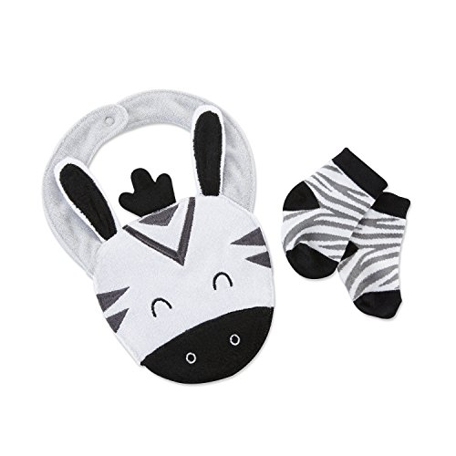 Zebra Baby Bib - Baby Aspen Zebra Bib and Socks Set