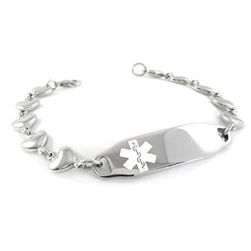 My Identity Doctor – Pre-Engraved Customized Women s Dementia Medical ID Bracelet, Heart Chain White Made in USA