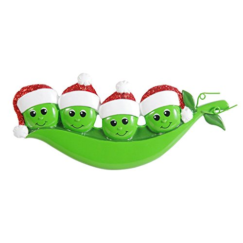(Grantwood Technology Personalized Christmas Ornaments Family KIT- New Peapod Family of 4 KIT)