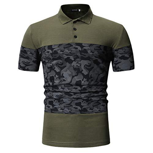 - Men's Performance Polo Custom Slim Fit Mesh Short Sleeve Shirt Patchwork Tops Green