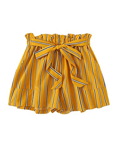 Floerns Women's Plus Size Shorts Summer Striped High Waisted Shorts with Pockets Yellow 3XL