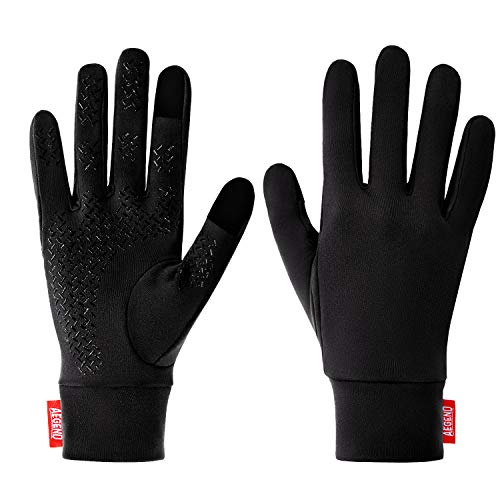 aegend Running Gloves Women Men Touch Screen Cycling Sports Liner Warm Gloves, Black, Large