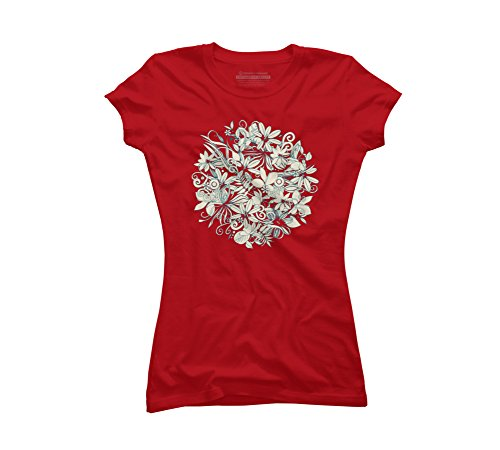 Denim flower circle Juniors' X-Large Red Graphic T Shirt - Design By Humans