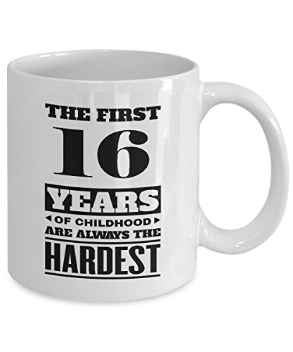 HappyBirthdayMug - The First 16Years of Childood Coffee Mugs - Perfect 16th Birthday idea for Men, Women, Son, Daughter - Gifts Christmas, Black day - 11 Oz Tea Cup White