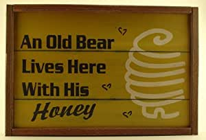 """Old Bear Decorative Wooden Hanging Wall Sign - 12.0"""" x 18.0"""""""