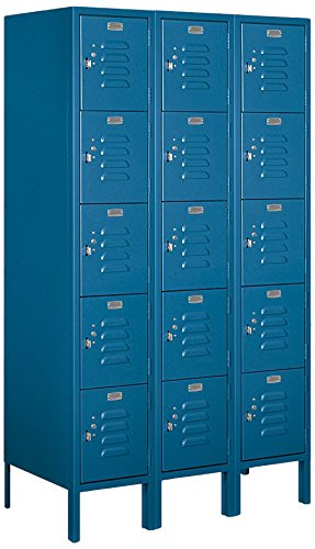 Salsbury Industries 65358BL-U Five Tier Box Style 36-Inch Wide 5-Feet High 18-Inch Deep Unassembled Standard Metal Locker, Blue by Salsbury Industries (Image #4)