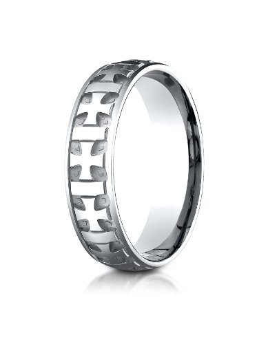 - 18K White Gold 6mm Comfort-Fit Gaelic Cross Carved Design Wedding Band Ring for Men & Women Size 4 to 15