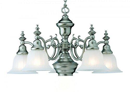 - Dolan Designs 660-09 5Lt Satin Nickel Richland 5 Light with Downlight Chandelier