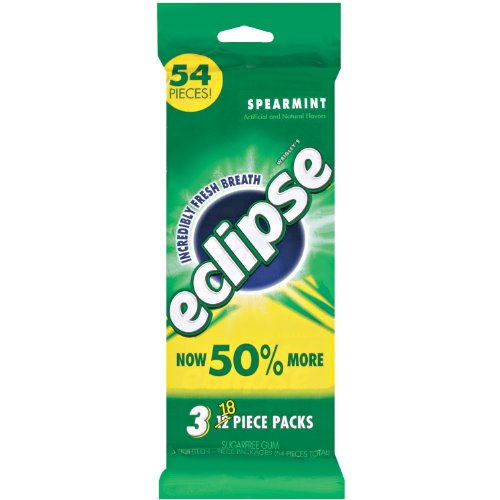 Eclipse Spearmint Sugarfree Gum, 18-Piece Pack (3 Packs) Eclipse Sugar Free Gum Spearmint