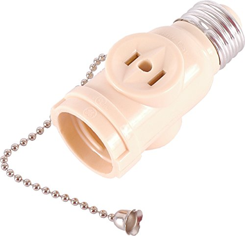Ivory Chain (GE 54180 Socket Adapter with Pull Chain Light Control and 2 Outlet, Ivory)