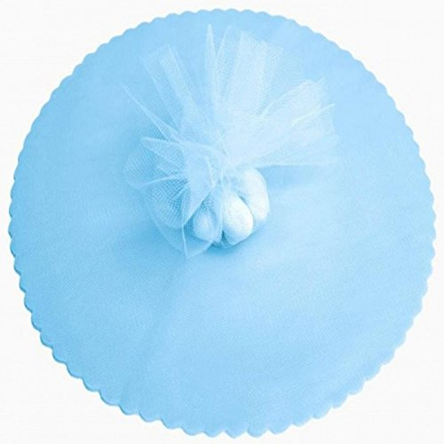 100 Light Blue Scalloped Tulle Circles 9