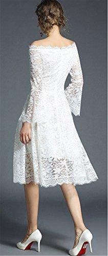 Sera parole a Pizzo Vestito Una Elegante 3 Floreali JOTHIN Bianco Gonna di Spalle 2018 Dress Scoperte Tinta 4 unita Donna Sexy Manica RHw0zZ