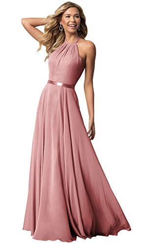 Women's Halter Long Bridesmaid Dress A-line Floor Length Formal Evening Party Gown (Blush Pink,16)