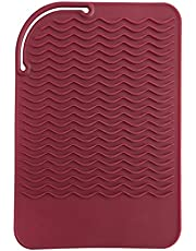 "Sygile 11"" X 7.5"" Larger Size Heat Resistant Silicone Travel Mat, Anti-heat Pad for Hair Straighteners, Curling Irons, Flat Irons and Other Hot Styling Tools - Wine Red"